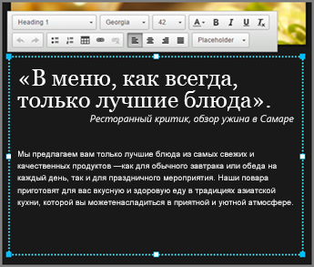 Пример основного текста в конструкторе GoDaddy