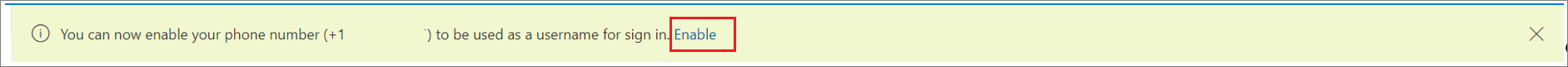 """Снимок экрана: баннер, позволяющий включить sms-вход для номера телефона с выбранным действием """"Включить""""."""