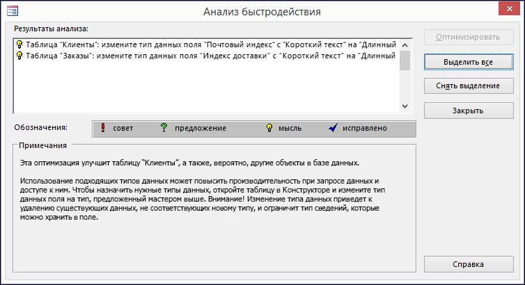 """Результаты в диалоговом окне """"Анализ быстродействия"""" после выполнения соответствующей команды для базы данных Access."""