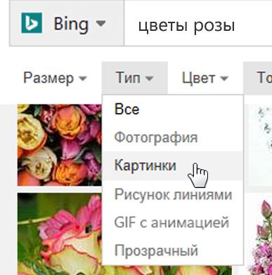 """Выберите фильтр """"Тип"""" и выберите пункт """"Из коллекции картинок"""""""