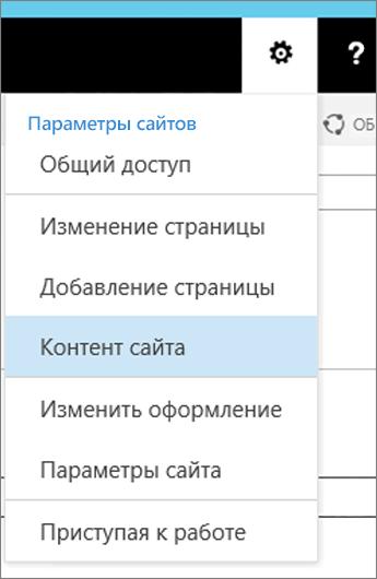 """Меню параметров с выделенным элементом """"Контент сайта"""""""