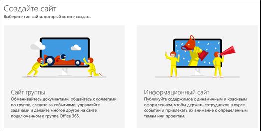 Выбор типа сайта в SharePoint Online