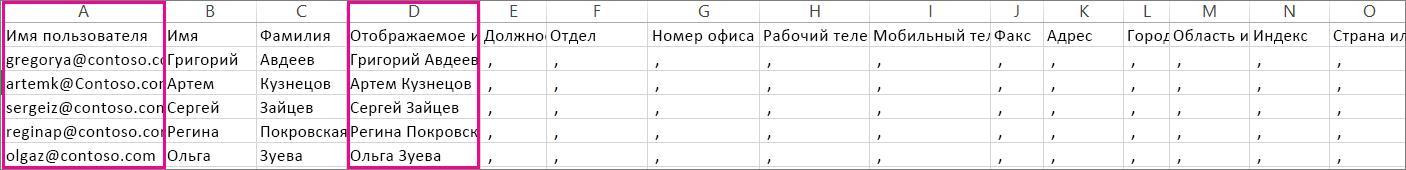 Пример CSV-файла со строками, отмеченными как пустые