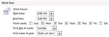 Раздел «Рабочее время» в диалоговом окне «Параметры Outlook»