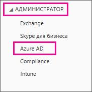 Меню Центра администрирования Office365 Выберите третий параметр (Azure AD).