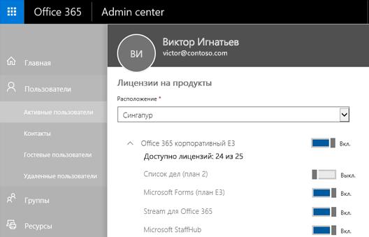 """Снимок экрана: страница """"Лицензии на продукты"""" в Центре администрирования Office365 с переключателем """"To-Do (план2)"""" в положении """"Выкл.""""."""