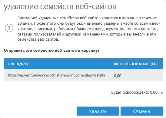 """Диалоговое окно """"Удаление семейства веб-сайтов"""""""
