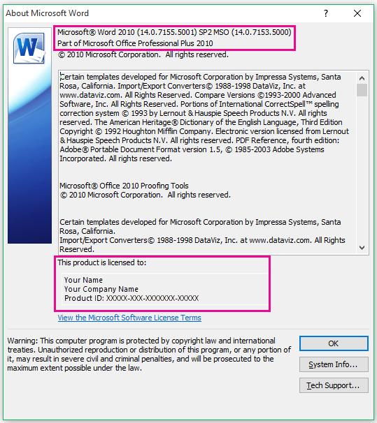 "Окно ""О программе Microsoft Word"" в Word 2010"