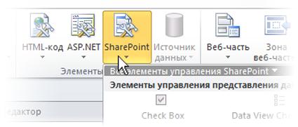 Меню SharePoint на ленте SharePoint Designer 2010