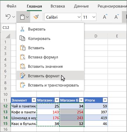 Вы можете вставить форматирование в ячейку или диапазон ячеек.