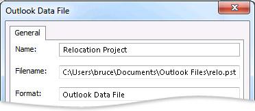 Диалоговое окно «Файл данных Outlook»