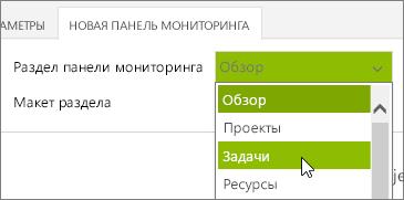 Список разделов панели мониторинга