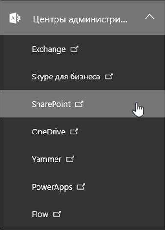 Список центров администратора в Office 365, включая SharePoint.