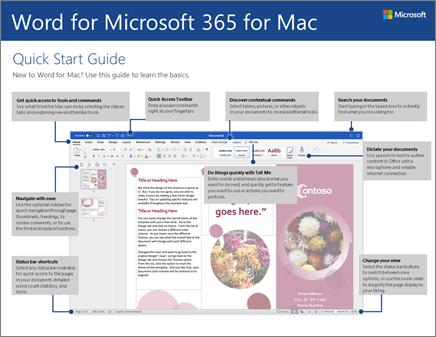 Краткое руководство по началу работы с Word2016 для Mac