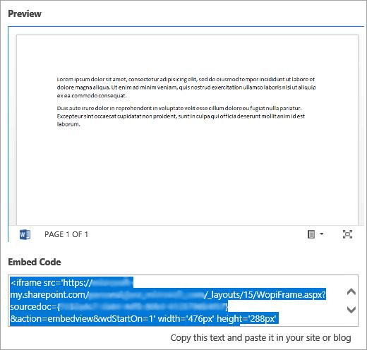 Копирование кода внедрения из документа Office