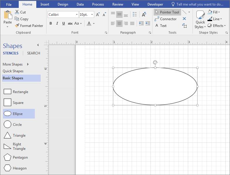 """Перетащите фигуру из набора элементов """"Простые фигуры"""" в область документа."""