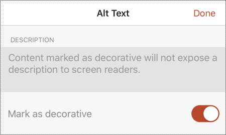 """В диалоговом окне """"замещающий текст"""" в PowerPoint для iOS выбран параметр """"помечать как декоративный""""."""