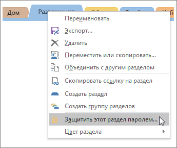 Снимок экрана: защита раздела OneNote2016 паролем.