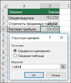 """Диалоговое окно """"Отчет по сценарию"""""""
