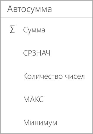 Сумма в Excel на планшете с Android