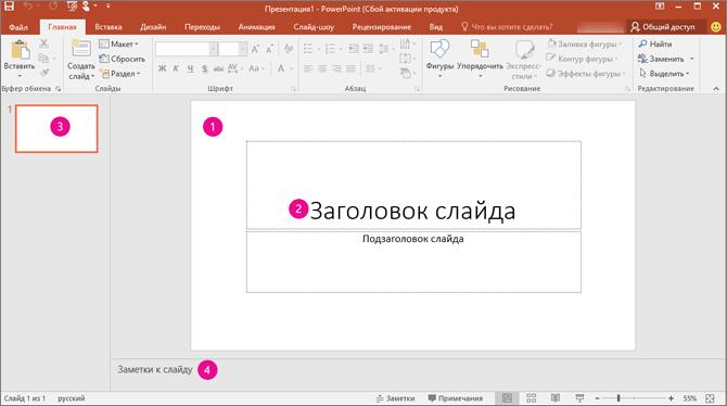 Рабочая область PowerPoint