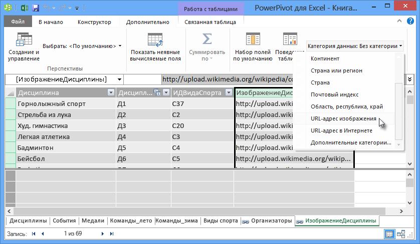 Настройка категории данных в Power Pivot