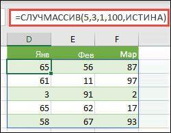 Функция СЛУЧМАССИВ с аргументами минимума, максимума и целых чисел