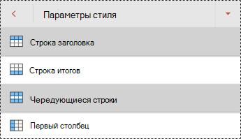 """Меню """"стили"""" строки заголовка таблицы в PowerPoint для Android."""