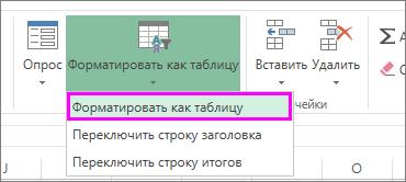 Кнопка форматирования данных в виде таблицы