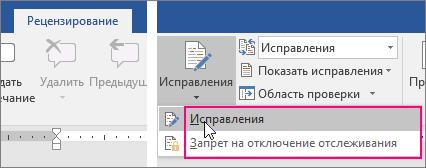 """Выделены параметры, отображаемые при нажатии кнопки """"Исправления"""""""