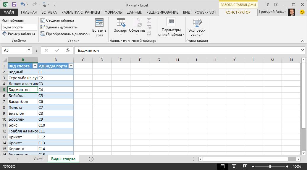 Присвоение имени таблице в Excel
