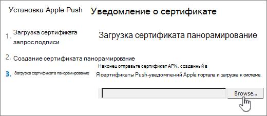 Нажмите кнопку обзора, чтобы выбрать APNS-сертификат, который вы скачали на сайте Apple