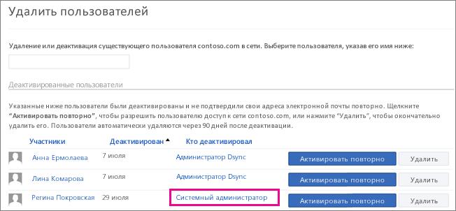 Снимок экрана, на котором показано, что пользователь удален системным администратором.