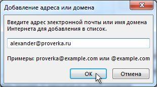 Диалоговое окно «Добавление адреса или домена»