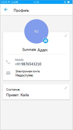 """Снимок экрана: параметр """"изменить состояние профиля"""""""