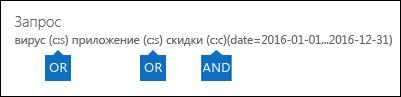 Пример запроса, созданного с использованием списка ключевых слов и условия