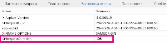 Снимок экрана: значение длительности запроса— 106