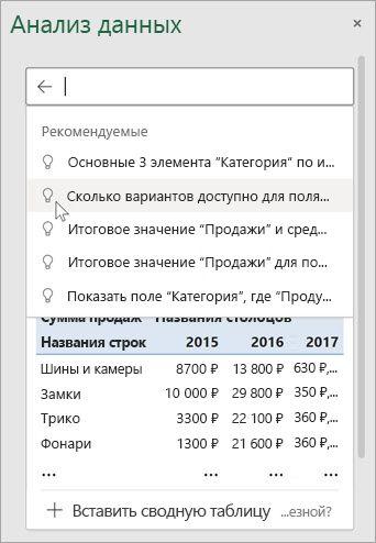 Анализ данных в Excel предложит вам вопросы, основанные на анализе данных.