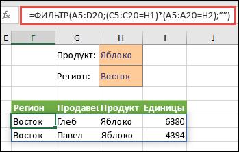 """Использование ФИЛЬТР с оператором умножения (*) для возврата всех значений в нашем диапазоне массива (A5:D20), содержащих текст """"Яблоко"""" И находящихся в восточном регионе."""
