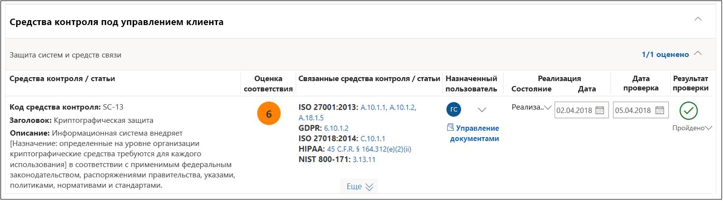 Диспетчер соответствия требованиям: выполнена оценка NIST 800-53 SC(13)