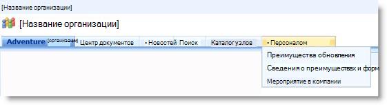 Раскрывающееся меню на верхней панели ссылок, в котором показаны дочерние сайты текущего сайта