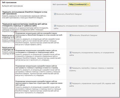 Страницы параметров SharePoint Designer