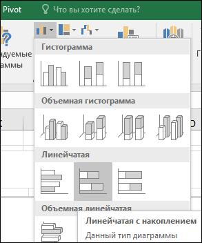 Линейчатая с накоплением в Excel 2016