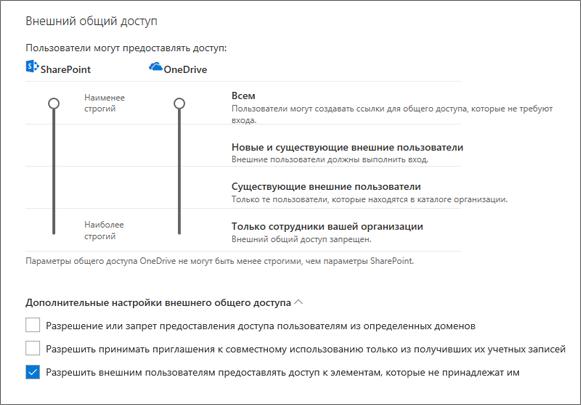 """Параметры внешнего общего доступа на странице """"Общий доступ"""" Центра администрирования OneDrive"""