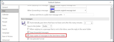 Установите флажок, чтобы сохранить копии отправленных сообщений.