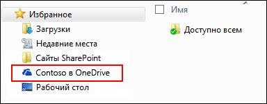 """Синхронизированная библиотека OneDrive для бизнеса в разделе Windows """"Избранное"""""""