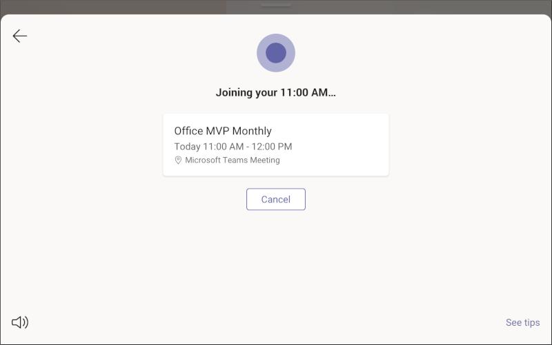Экран отображения собраний в Microsoft Teams