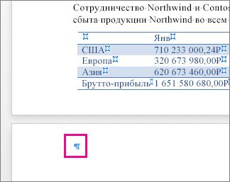 На странице после таблицы выделен знак пустого абзаца