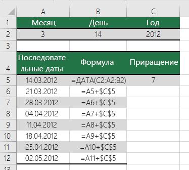 Увеличение или уменьшение даты на указанное количество дней