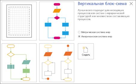 """Снимок экрана: экран """"Вертикальная блок-схема"""" с шаблоном и параметрами единиц измерения"""